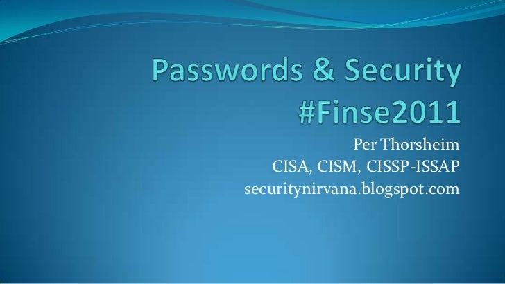 Passwords & security