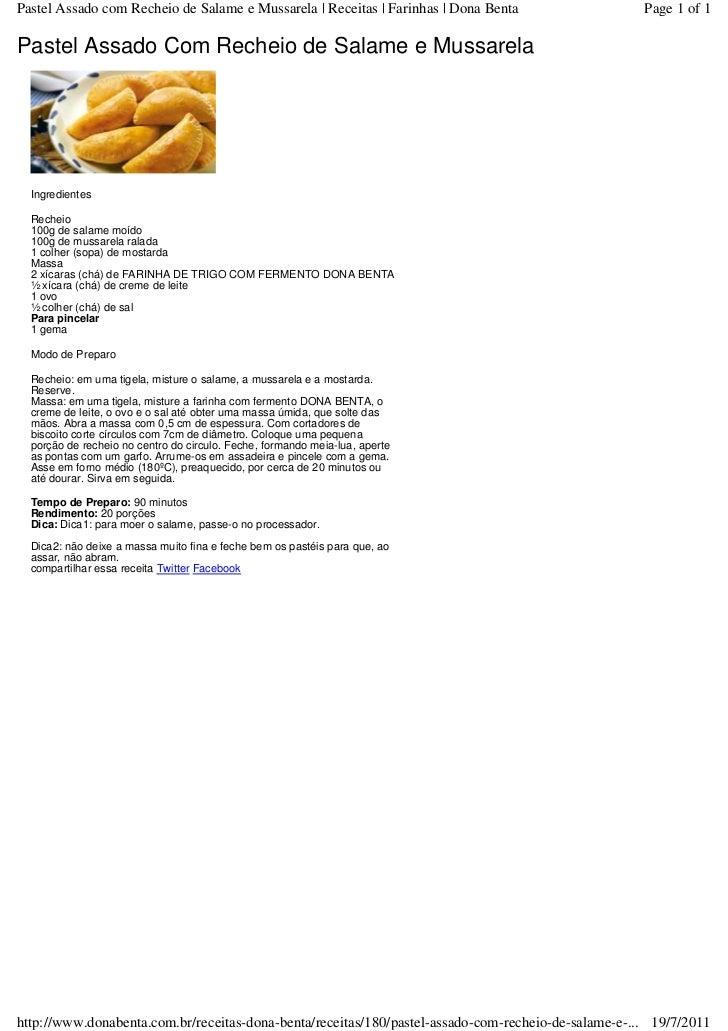 Pastel Assado com Recheio de Salame e Mussarela | Receitas | Farinhas | Dona Benta                   Page 1 of 1Pastel Ass...