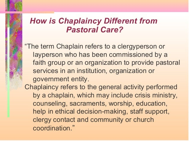 Reflection on pastoral care