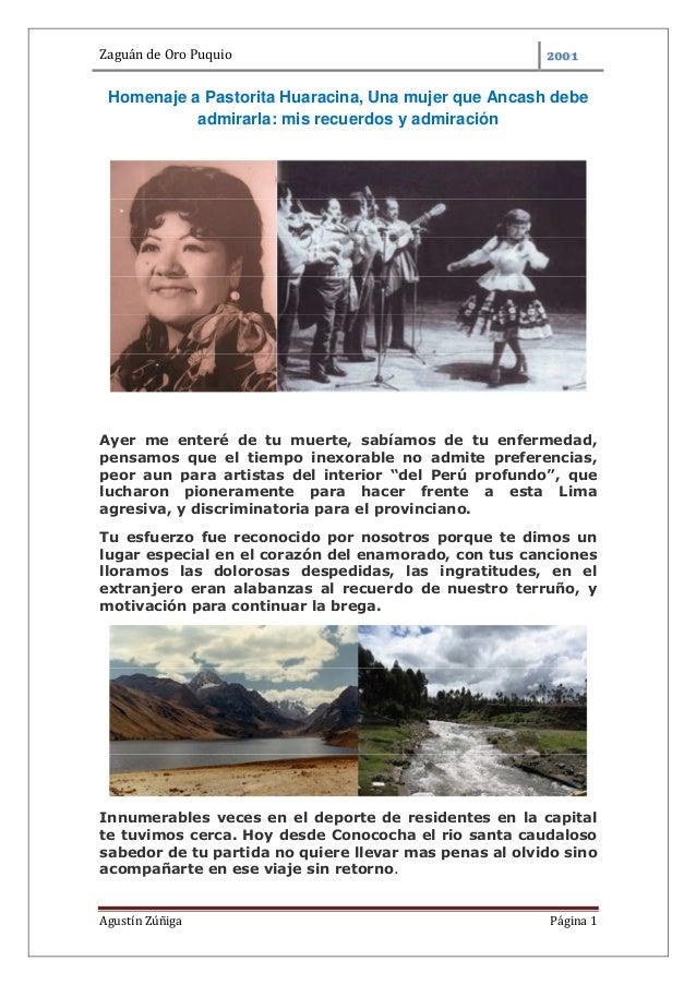 Zaguán de Oro PuquioAgustín Zúñiga Página 1Homenaje a Pastorita Huaracina, Una mujer que Ancash debeadmirarla: mis recuerd...