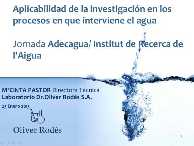 Aplicabilidad delainvestigación enlos    procesos enque interviene elagua    Jornada Adecagua/InstitutdeRecerca d...