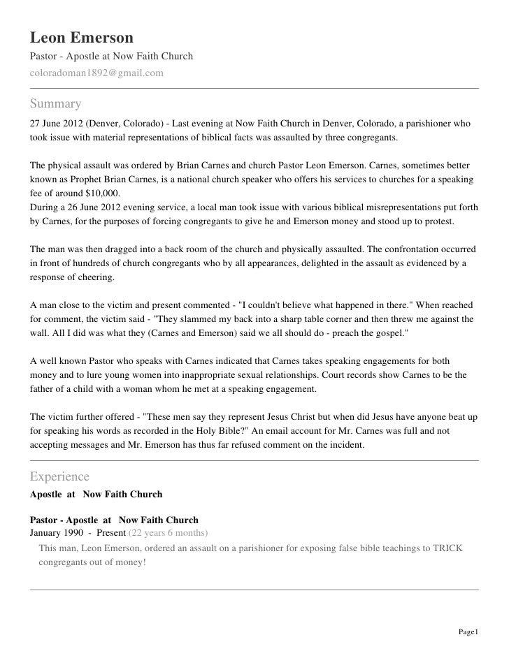 Leon EmersonPastor - Apostle at Now Faith Churchcoloradoman1892@gmail.comSummary27 June 2012 (Denver, Colorado) - Last eve...