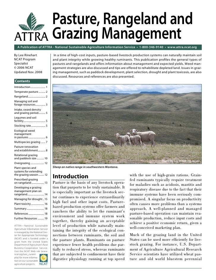 Pasture, Rangeland andATTRA Grazing Management    A Publication of ATTRA - National Sustainable Agriculture Information Se...