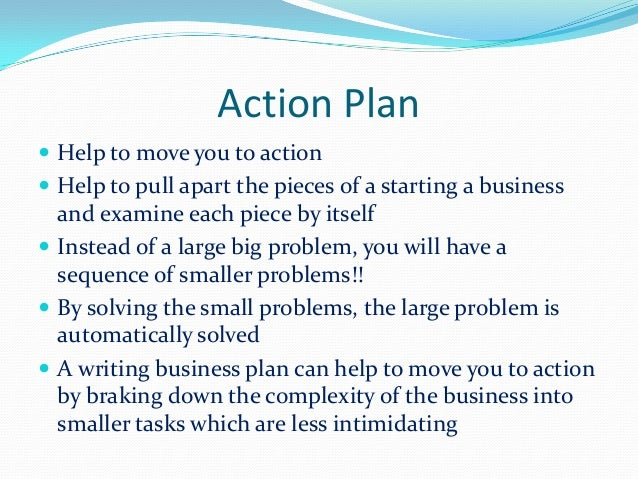 Business plan of action