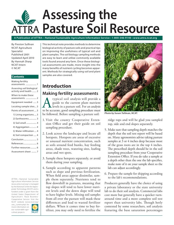Assessing the                                        Pasture Soil Resource   A Publication of ATTRA—National Sustainable A...