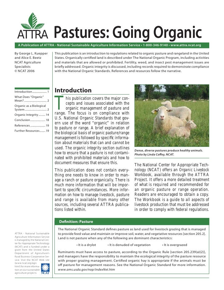 ATTRA                                    Pastures: Going Organic    A Publication of ATTRA - National Sustainable Agricult...