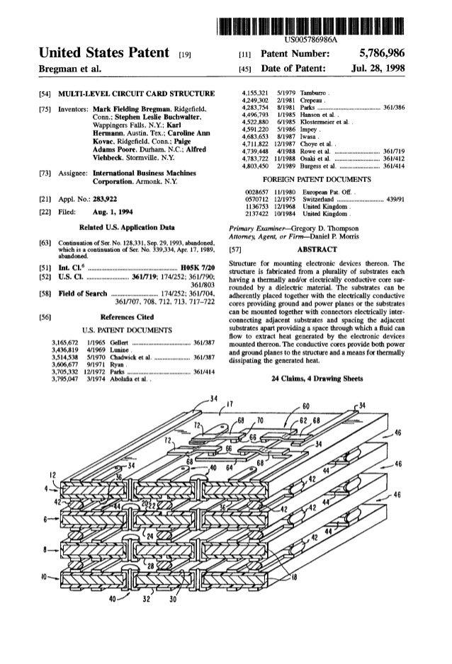 Multi-level circuit card structure - US Patent 5786986