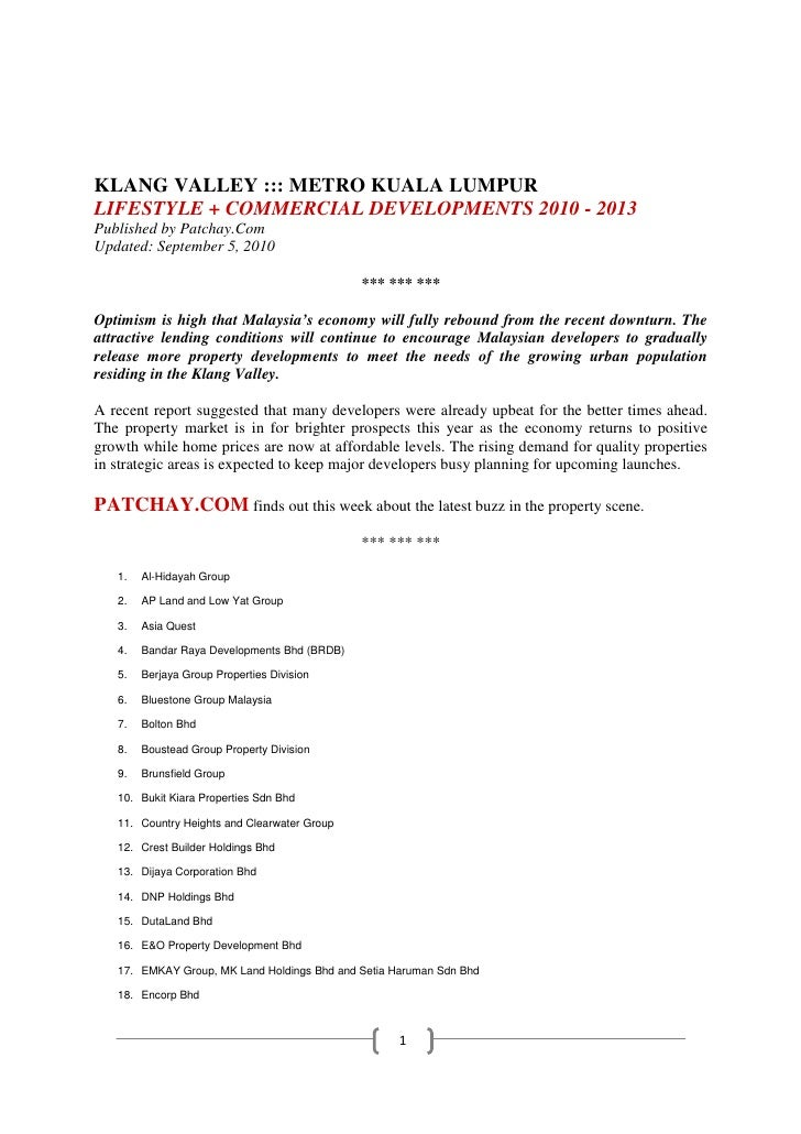 KLANG VALLEY ::: METRO KUALA LUMPUR LIFESTYLE + COMMERCIAL DEVELOPMENTS 2010 - 2013 Published by Patchay.Com Updated: Sept...