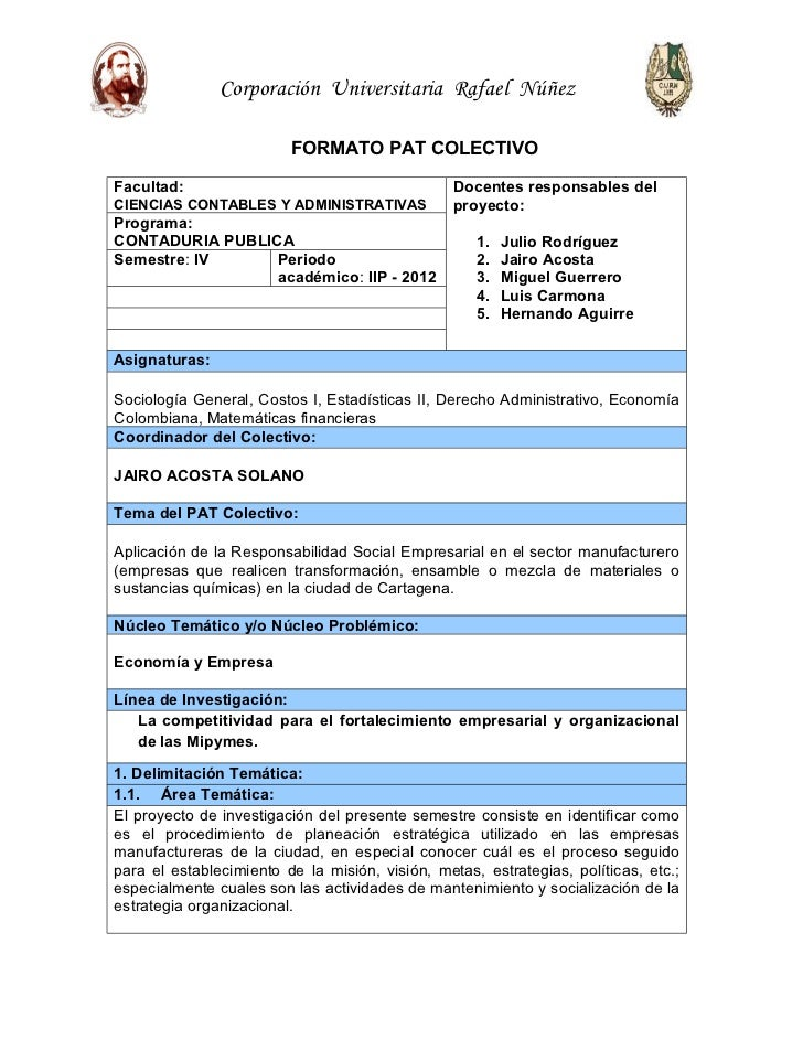 Corporación Universitaria Rafael Núñez                         FORMATO PAT COLECTIVOFacultad:                             ...