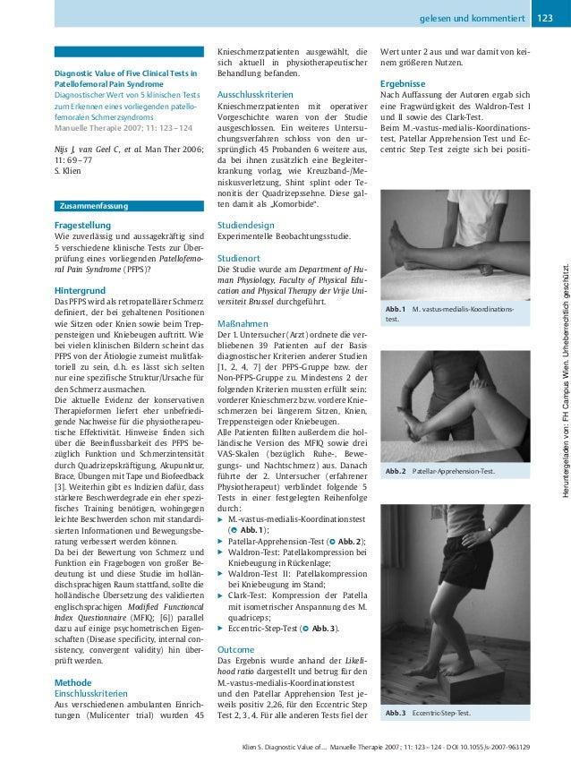 Diagnostic Value of Five Clinical Tests in Patellofemoral Pain Syndrome Diagnostischer Wert von 5 klinischen Tests zum Erk...