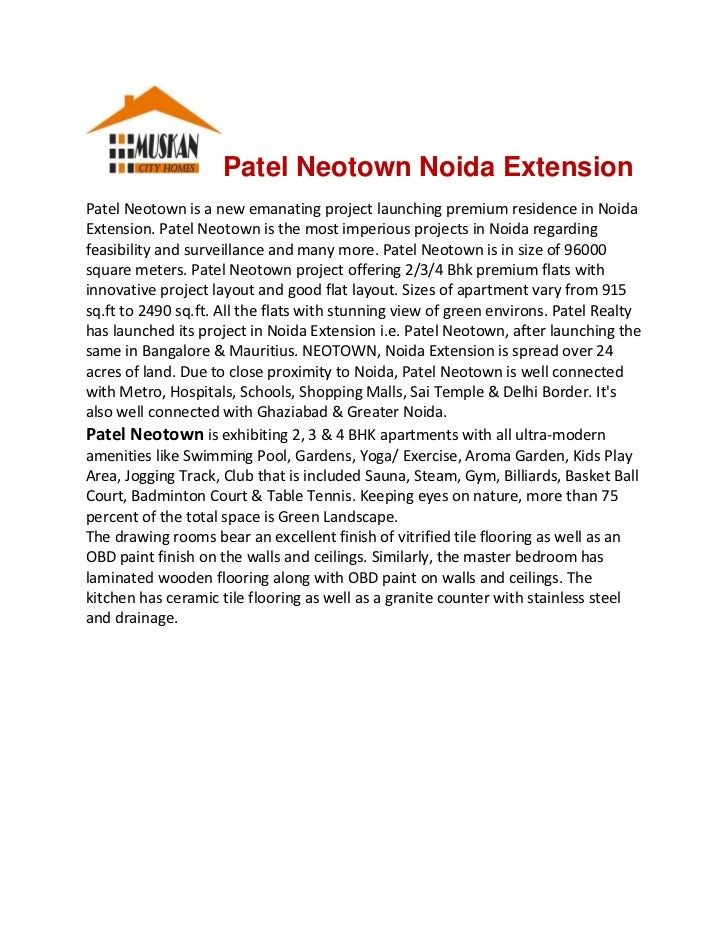 Patel Neotown Noida ExtensionPatelNeotownisanewemanatingprojectlaunchingpremiumresidenceinNoidaExtension.Pat...