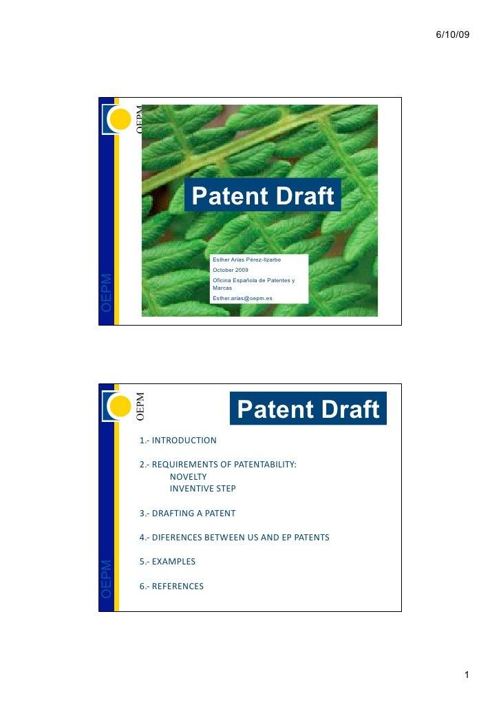 6/10/09                       Patent Draft                           Esther Arias Pérez-Ilzarbe                          O...
