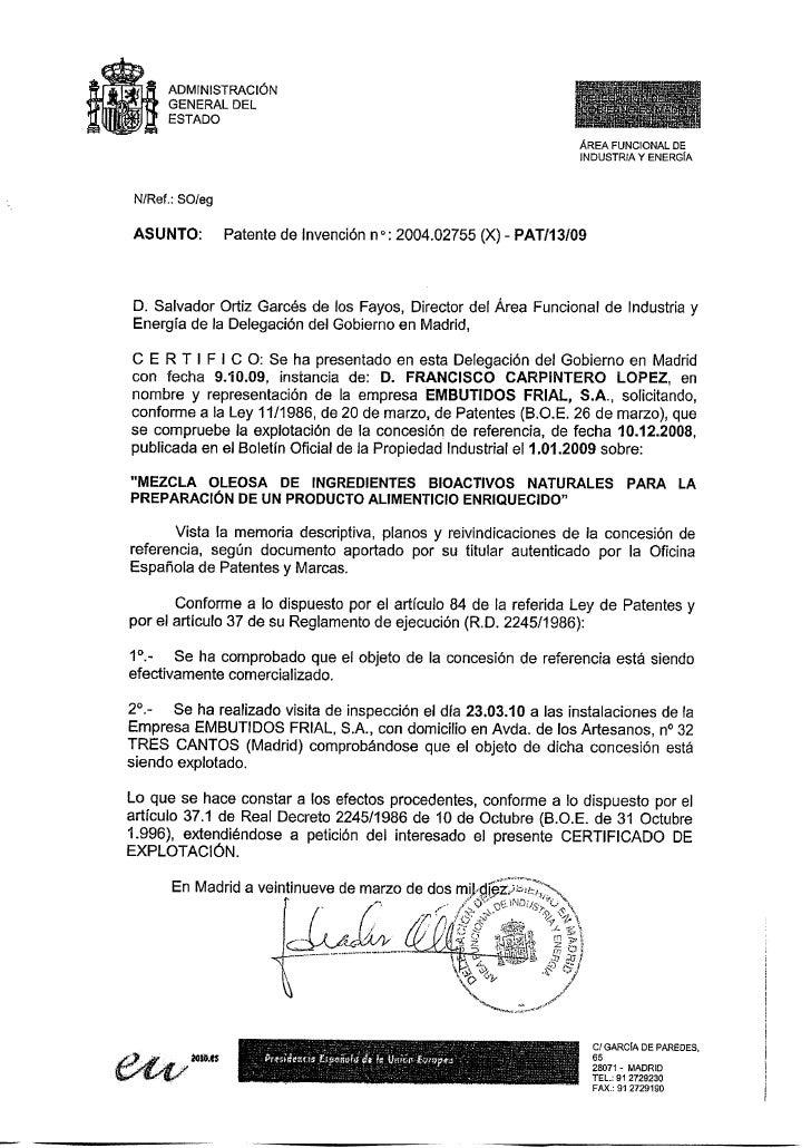 Patente España Frial