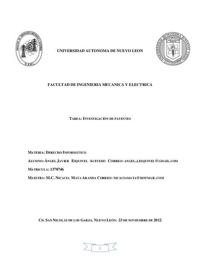 Tarea: Investigacion de Patentes