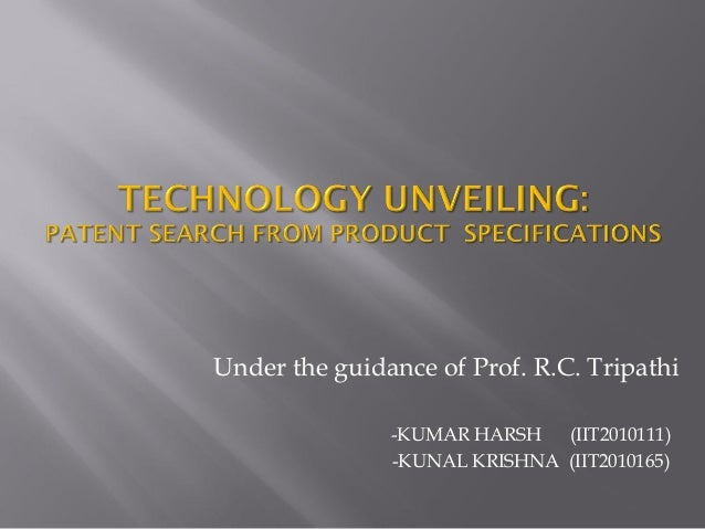 Patent search from product specification final