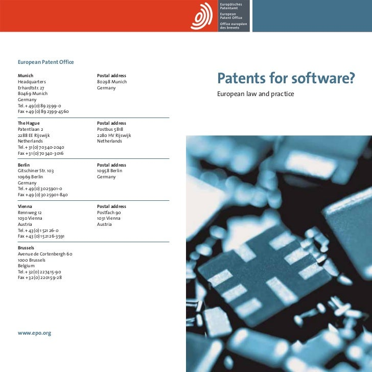 Patents for software? European law and practice - European Patent Office