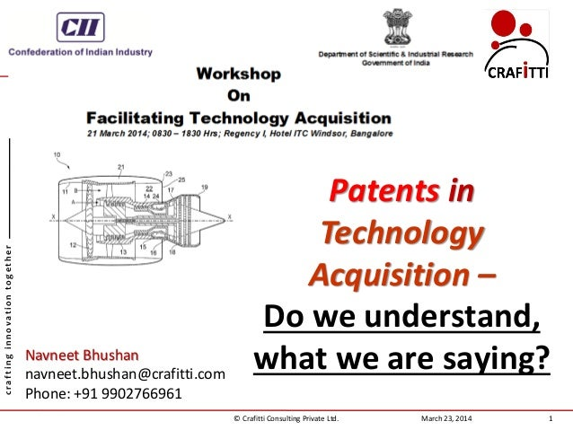 PATENTS IN TECHNOLOGY ACQUISITION - DO WE KNOW WHAT WE ARE SAYING?