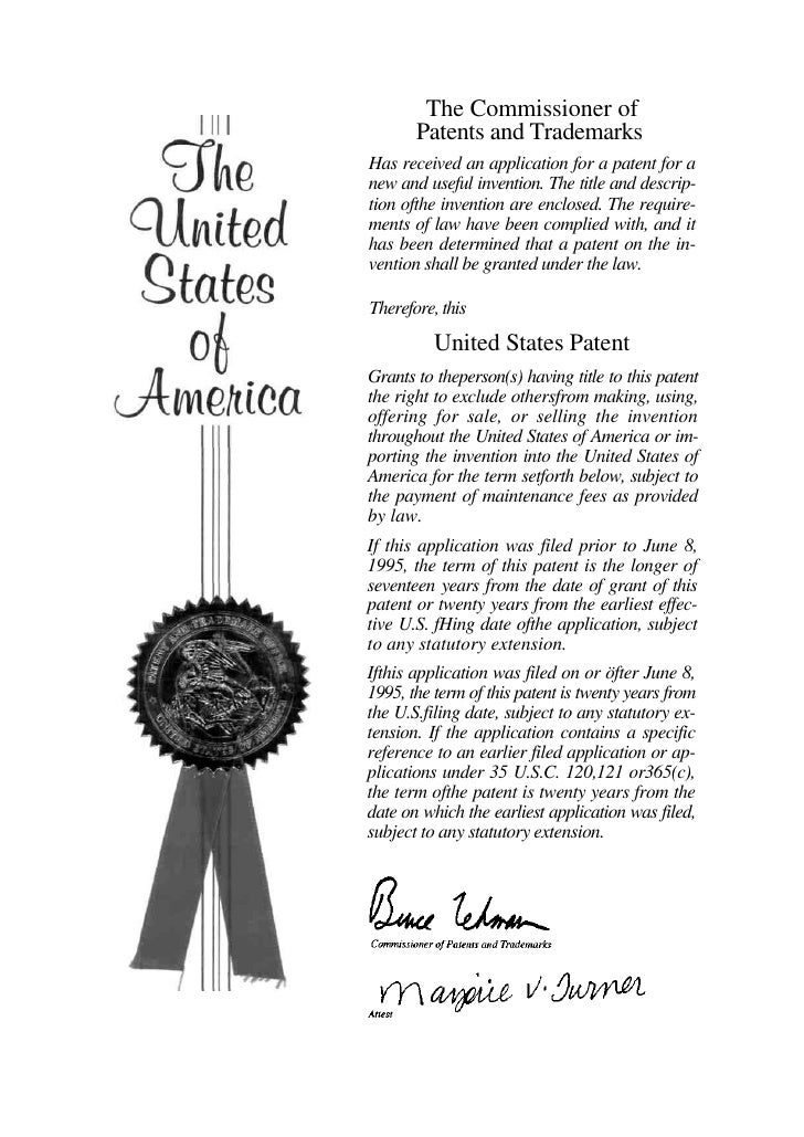 The Commissioner of        Patents and Trademarks Has received an application for a patent for a new and useful invention....