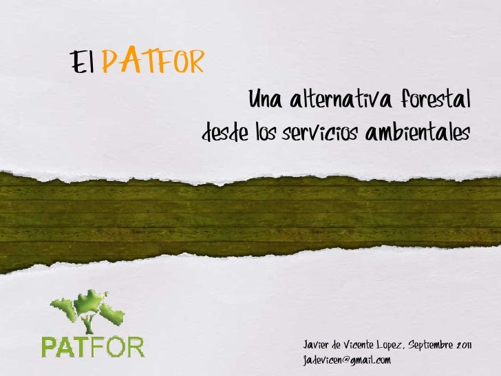 El PATFOR             Una alternativa forestal        desde los servicios ambientales                   Javier de Vicente ...