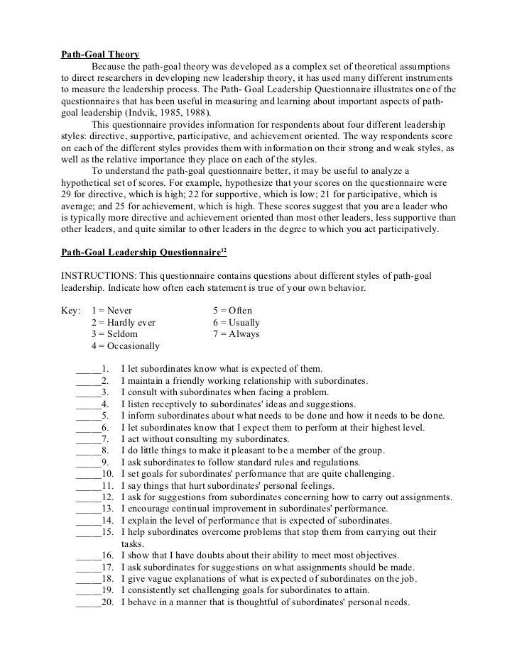 Path goal questionnaire