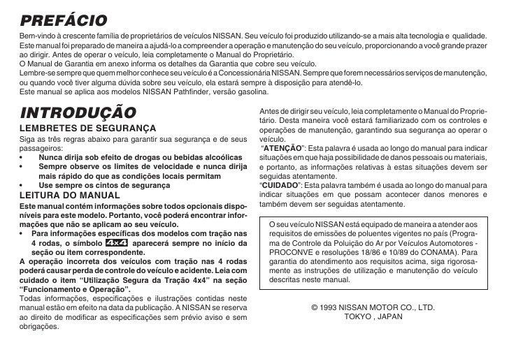 pathfinder 1993 owners manual 1993 nissan pathfinder owner's manual 94 Nissan Pathfinder