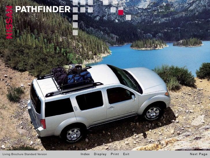 NISSAN   PATHFINDER     Living Brochure Standard Version   Index   Display   Print   Exit   Next Page