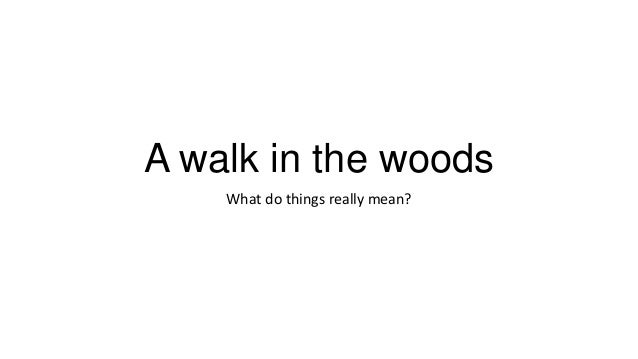 A walk in the woods What do things really mean?