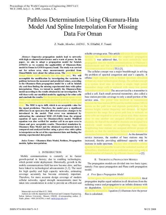 Pathloss determination using okumura hata model