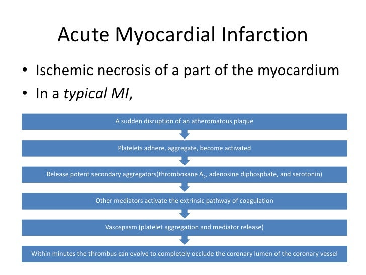 acute myocardial infarction essay There are several differences between the signs and symptoms that men and women experience during an acute myocardial infarction men.