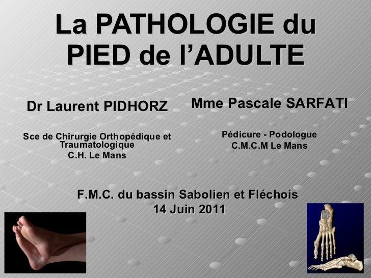 La PATHOLOGIE du PIED de l'ADULTE Dr Laurent PIDHORZ Sce de Chirurgie Orthopédique et Traumatologique C.H. Le Mans Mme Pas...