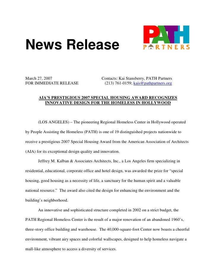 News Release  March 27, 2007                               Contacts: Kai Stansberry, PATH Partners FOR IMMEDIATE RELEASE  ...