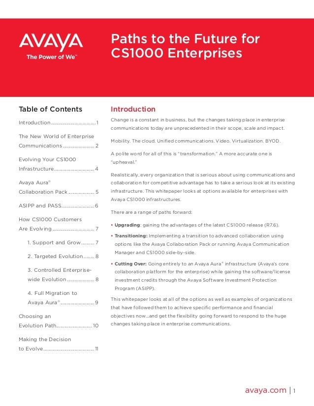 Paths to the Future for  CS1000 Enterprises