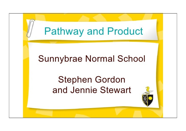 Pathway and Product  Sunnybrae Normal School      Stephen Gordon    and Jennie Stewart