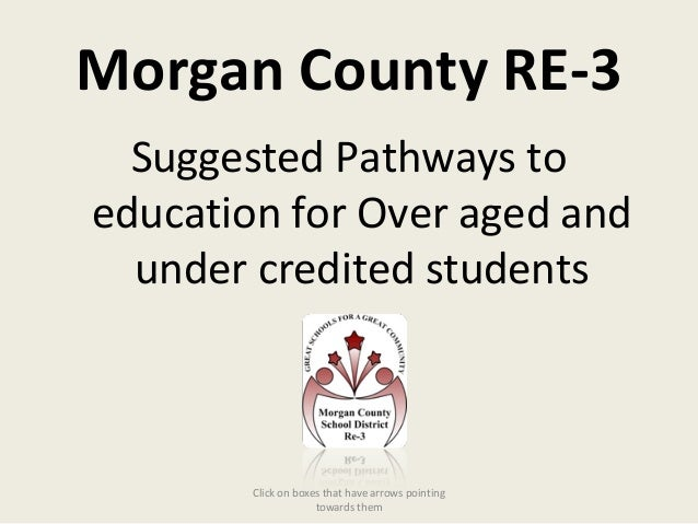 Morgan County RE-3Suggested Pathways toeducation for Over aged andunder credited studentsClick on boxes that have arrows p...