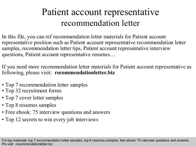 Patient Account Representative Cover Letter,Patient Service ...