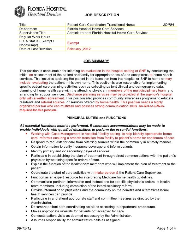 Project Coordinator Transitional Resume