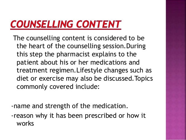 patient counseling on heart medications essay Evidence based practice paper on myocardial infarction  nursing teaching for post mi patients a heart healthy diet is recommended to reduce ldl and blood pressure .
