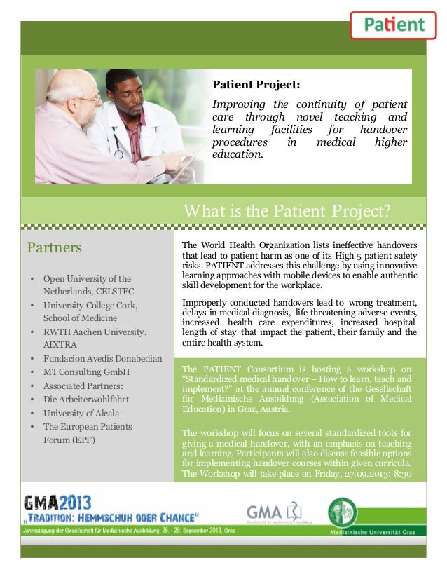 Patient Project: Improving the continuity of patient care through novel teaching and learning facilities for handover proc...