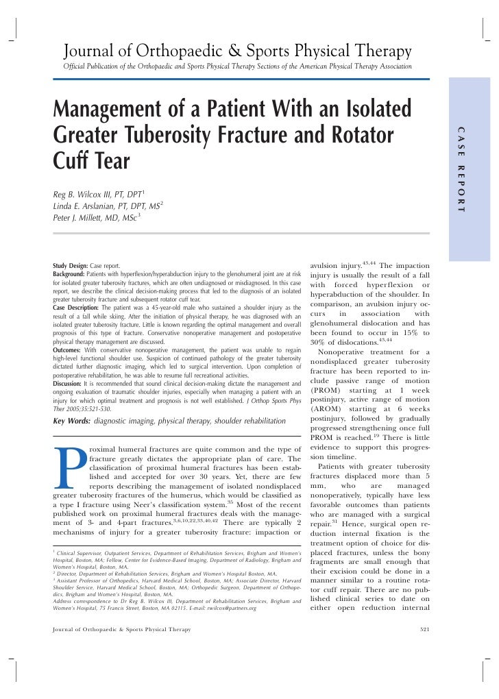 Patient Management with Greater Tuberosity Fracture and Rotator Cuff Tear   Greater Denver Area
