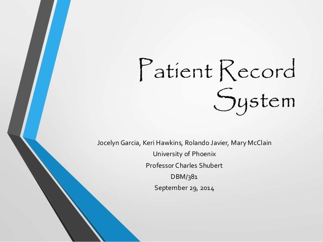 patient record management system thesis Management of patient medical records systems could be because there is an institutional need for the aggregate data at management levels which in.