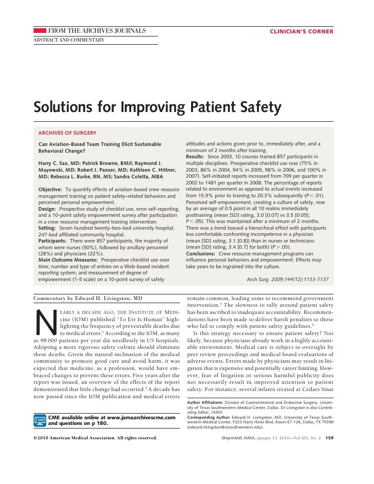 Solutions for Improving Patient Safety