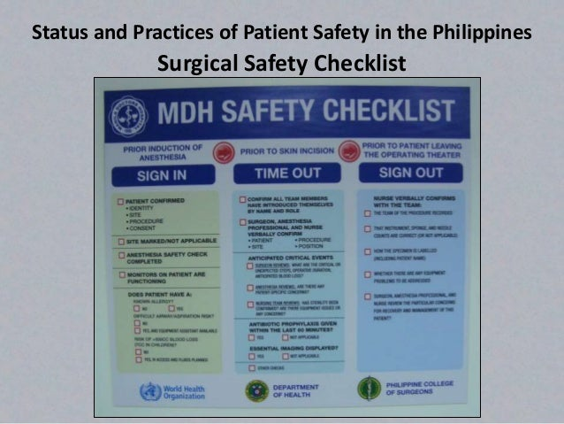 patient safety in surgery The surgical safety checklist and patient outcomes after surgery: a prospective observational cohort study, systematic review and meta-analysis abbott tef, ahmad t, phull mk, et al international surgical outcomes study (isos) group.