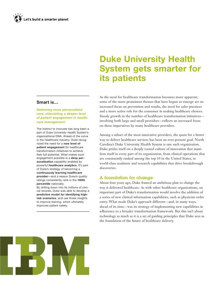 Patient Self-Service: Duke University HealthSystem uses Analytics to Deliver Optimal Care