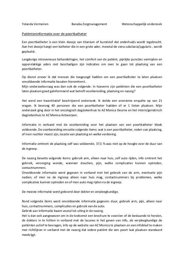 Yolanda Vermeiren                  Banaba Zorgmanagement               Wetenschappelijk onderzoekPatiënteninformatie over ...