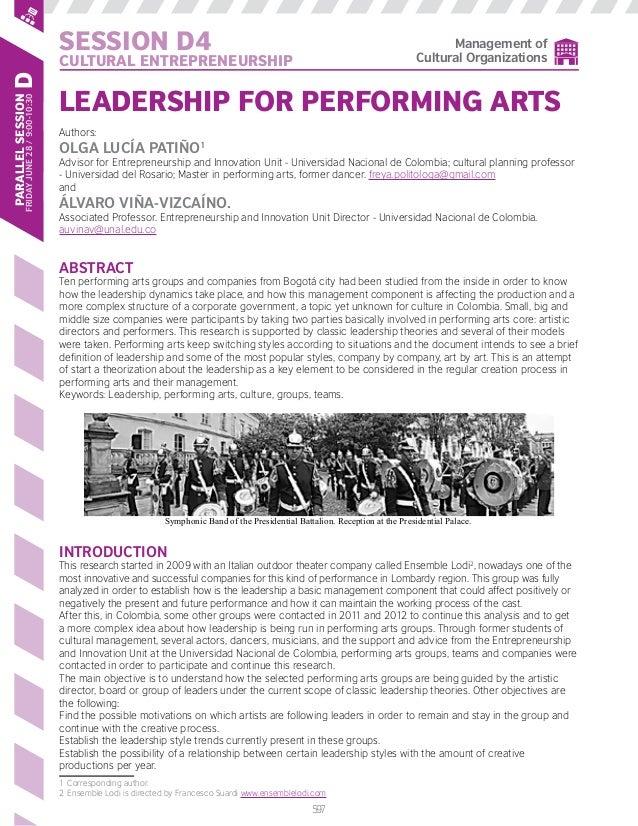 597 Session D4 CULTURAL ENTREPRENEURSHIP ParallelSession FridayJune28/9:00-10:30d Management of Cultural Organizations Lea...
