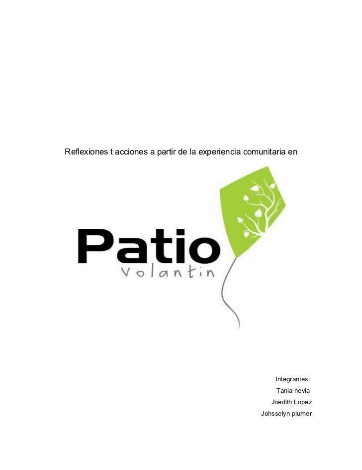 Patio Volantín, un acercamiento desde la psicología ambiental.