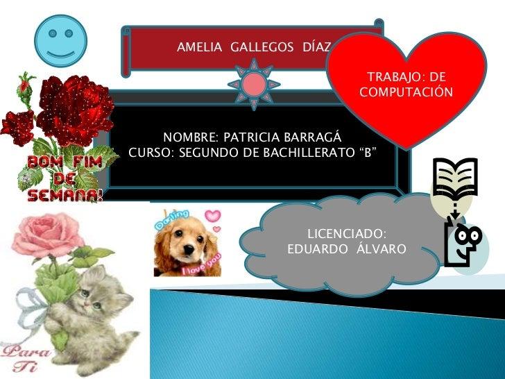 AMELIA GALLEGOS DÍAZ                                TRABAJO: DE                               COMPUTACIÓN    NOMBRE: PATRI...