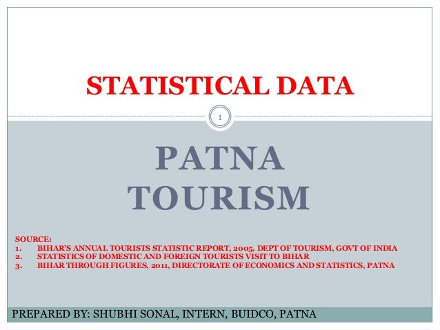 PATNA TOURISM STATISTICAL DATA PREPARED BY: SHUBHI SONAL, INTERN, BUIDCO, PATNA SOURCE: 1. BIHAR'S ANNUAL TOURISTS STATIST...