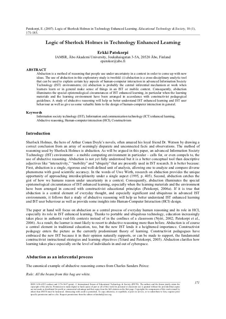 Patokorpi   logic of sherlock holmes in technology enhanced learning - articulo