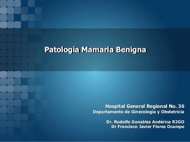 Patología Mamaria Benigna  Hospital General Regional No. 36  Departamento de Ginecología y Obstetricia  Dr. Rodolfo Gonzál...